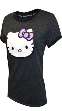 This Hello Kitty t-shirt is sure to become a wardrobe basic! This junior cut ringer style tee for women features Hello Kitty's face. These tees are machine washable and easy to care for. Length finishes at hip. Hello Kitty T Shirt, Best Pajamas, Ringer Tee, Tees For Women, Shirt Outfit, Lounge Wear, Girl Fashion, Tee Shirts, Charcoal Gray