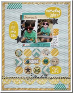 Love, love this layout by Daniela Dobson! All three large yellow ovals were stamped with the Hello Routine by Ali Edwards Studio AE stamp set (April 2012). http://www.techniquetuesday.com/category/Studio-AE-Membership.html