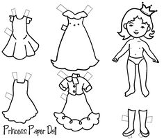 Free Printable Princess Paper Dolls.  #paperdolls #princess #princessparty #princessgames