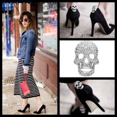 ShoeTease blog features Shoelery by Erica Giuliani Diamond Skull Shoe Clip. Find this shoe clip for $29.99 at Shoelerybyeg.com. Your Shoes, New Shoes, Skull Shoes, Diamond Skull, Looks Street Style, Shoe Clips, Pretty Shoes, Get The Look, Latest Fashion Trends