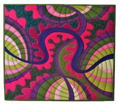 pink - green- purple quilt by Jane Sassaman