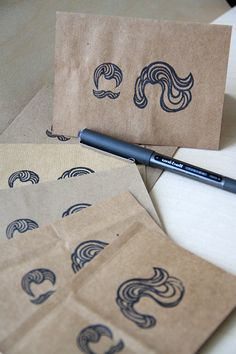 Upcycled Note Card Set - SO AWESOME! -  Cover old/used/ugly greeting cards with brown paper bag. Stamp/draw on them!!