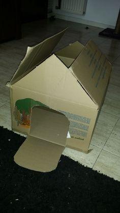 Casa para gato hecha con caja de carton