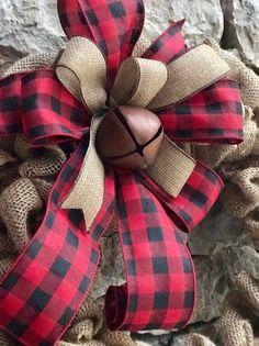 Items similar to buffalo plaid farmhouse wreath burlap, monogram farmhouse wreath for front door on Etsy Christmas Swags, Burlap Christmas, Farmhouse Christmas Decor, Christmas Crafts, Etsy Christmas, Christmas Door, Christmas Wrapping, Country Christmas, Holiday Wreaths