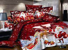 3D cotton christmas gift Santa Claus cartoon kids children boy girl queen king bed sheet set bedding set duvet cover set