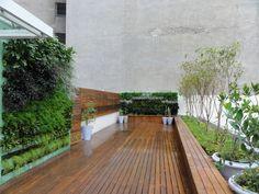 Rooftop, um oásis em pleno centro financeiro do Rio de Janeiro. Árvores frutíferas, temperos e 2 jardins verticais. Paisagismo Marisa Lima