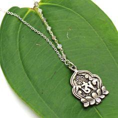 Buddha Necklace - Tibetan Pendant, Moonstone Necklace, Beaded Necklace, Yoga Jewelry, Meditation Jewelry, Ohm Necklace, Sanskrit Ohm by HaoleGirlHaikuZen on Etsy