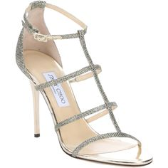 Jimmy Choo Gold Glitter Lame 'dory' Stiletto Sandals (383768201) ($635) ❤ liked on Polyvore featuring shoes, sandals, gold, gold strap sandals, t-strap flats, open toe sandals, ankle strap shoes and ankle strap sandals