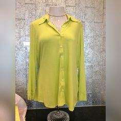 Long sleeve button up! Long sleeve green button up shirt. 6% spandex. Julian Chang Tops