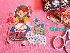 Disney Little Bo Peep cross stitch. Cross Stitching, Cross Stitch Embroidery, Cross Stitch Patterns, Crochet Patterns, Stitch Doll, Little Bo Peep, C2c Crochet, Embroidered Flowers, Needlepoint