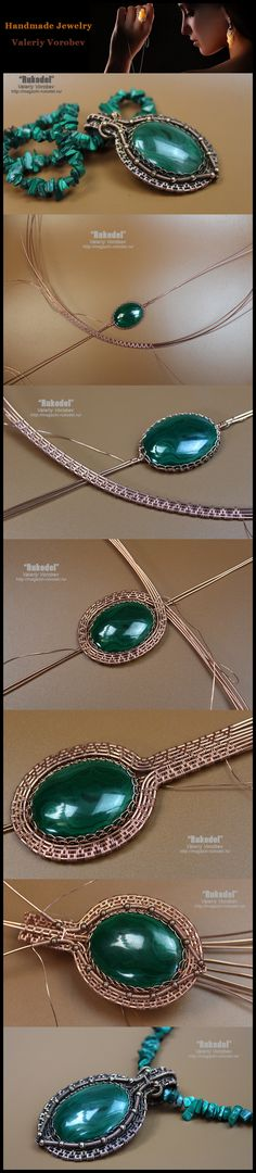 Necklace of malachite. Pendant made of copper wire and cabochon from malachite.