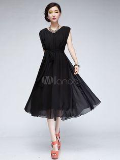 Sweet Black V-neck Sleeveless Women's Pleated Dress - Milanoo.com