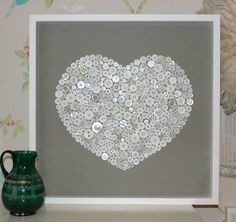 Large white box framed white button on grey artwork | eBay