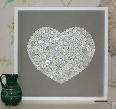 Large white box framed white button on grey artwork | eBay