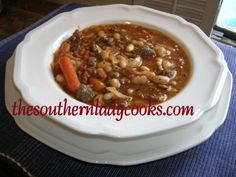 Slow Cooker Sausage, White Bean and Pasta Soup
