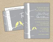 Custom Wedding Invitation Birch Tree Set: change the colors (Invite, RSVP, address label and insert). $50.00, via Etsy.