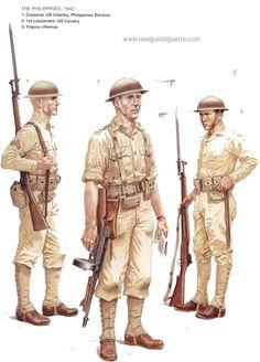 The PHILIPPINES 1942.  1. Corporal, US Infantry, Philippine Division  2. 1st Lieutenant , U.S Cavalry  3. Filipino Rifleman