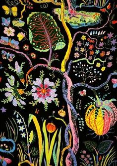 """♥Textile Hawaii 315 Linen Josef Frank found inspiration for the pattern Hawaii at the Metropolitan Museum of Art. There he found a remarkable collection of """"Trees of Life"""" from the north side of the Indian peninsula. This pattern, with its intertwined stems, bears similarities to these trees."""