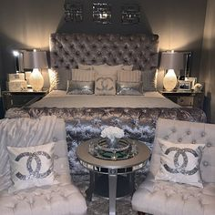 Tufted Velvet Platform Bed Wide California King Queen Full Twin Bed Frame Diamond Tufted Tall Upholstered Headboard MADE TO ORDER - Fame. Glam Bedroom, Stylish Bedroom, Room Ideas Bedroom, Home Decor Bedroom, Silver Bedroom Decor, Master Bedroom, Glam Bedding, 1930s Bedroom, Earthy Bedroom
