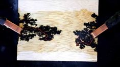 Fractal Lichtenberg Figure Wood Burning with Electricity.  Have done this, need to tweak conducting solution & get higher quality wood.  Neat with glow-in-the-dark epoxy inlay.