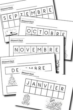 découvrir l'écrit MS mois de l'année School Games, School Fun, French Worksheets, Kindergarten Language Arts, Abc Activities, French Classroom, Pre Writing, Teaching French, Beginning Of School