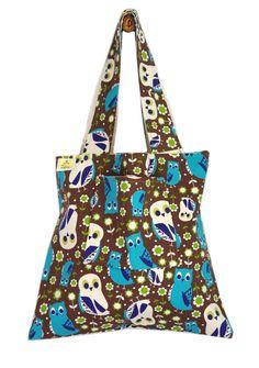 Big Brown Owls Lined Tote Bag - Handmade in London via Etsy Tote Bags Handmade, Big Brown, Owls, Reusable Tote Bags, London, Fabric, Etsy, Tejido, Big Ben London