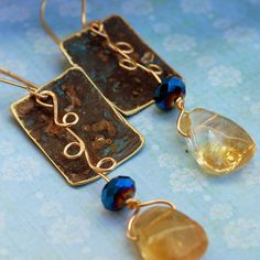 Patina Earring...with citrine