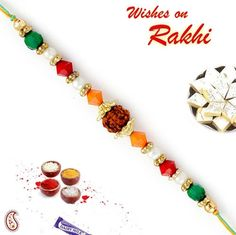 Picture of Single Rudraksh Rakhi with colourful Beads