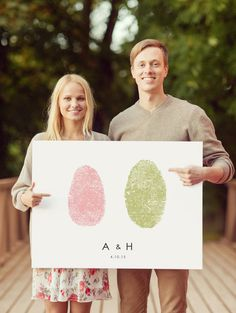 Couples Custom Fingerprint Art for Wedding GuestBook Alternative. Made with YOUR Thumbrints