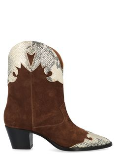 Shoes From Paris Texas: Leather Suede Texan Boots With Lamè Printed PythonComposition: calf leather Calf Leather, Brown Leather, Paris Texas, Sierra Leone, Texans, Shoe Shop, Brown Boots, Laos, Calves