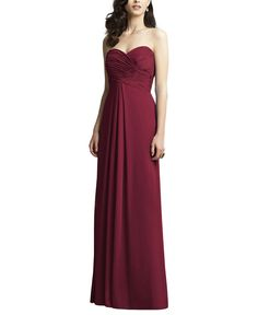 DescriptionDessy Collection 2928 Full length bridesmaid dressStrapless sweetheart necklineDraped bodiceEmpire waistline Lux chiffon