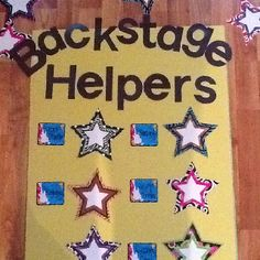 Backstage Helpers                            I just completed my jobs poster for the year. I am calling it backstage helpers to accompany my rockstar theme!   I included tour director (line leader).  A security person to be the caboose and make sure the line is behaving. Also included cleaning crew,lighting,and a stage manager(messenger to office).  I am super excited to start this school year!