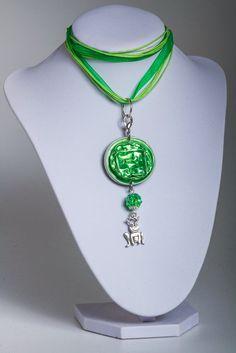 Schmucksets - Upcycling Halskette Anhänger Frosch Grün Set - ein Designerstück von Sylo-Ketten bei DaWanda