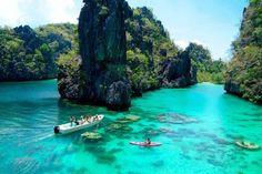 palawan the philippines! El-Nido-Miniloc-Island-Resort Palawan Philippines-Kayaking-at-the-Big-Lagoon El Nido Palawan, Les Philippines, Philippines Travel, Philippines Palawan, Dream Vacations, Vacation Spots, Tourist Spots, Vacation Places, Vacation