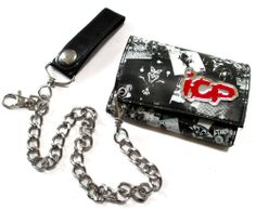"INSANE CLOWN POSSE ""METAL BADGE"" BLACK FAUX LEATHER CHAIN WALLET ICP NEW ADULT"