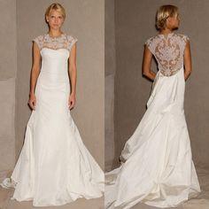 Open-Back Wedding Dress: Lela Rose, Tompkins Square Park | Brides.com...Good ideas on this site
