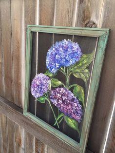 Purple hydrangeaFlowerwindow screen art hand by RebecaFlottArts