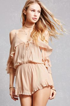 A crepe woven romper featuring an open-shoulder design, a front V-cut with self-ties, adjustable cami straps, a flounce layer draping into short sleeves, a V-cut back with self-ties, an elasticized waist, a ruffled hem, and a flowy silhouette.<p>- This is an independent brand and not a Forever 21 branded item.</p>