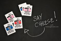 Say Cheese! Free Printable Valentines with LiveLaughRowe.com #valentines #printable