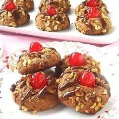 Chocolate Nuts Cherry Cookies