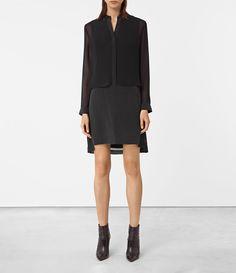 ALLSAINTS UK: Womens Radial Silk Dress (Black)