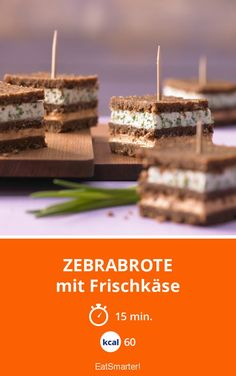 The Zebra Breads recipe out of our category open-face sandwich! EatSmarter has over healthy & delicious recipes online. Go Veggie, Snacks Für Party, Eat Smart, Vegetarian Cheese, Low Sugar, Finger Foods, Tapas, Yummy Food, Stuffed Peppers