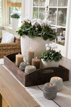 Looking for positioning ideas for a window sill or a table-scape. We love the co… Looking for positioning ideas for a window sill or a table-scape. We love the combination of plants and candles. Deco Floral, Curtain Designs, Decorating Coffee Tables, Deco Table, Home And Deco, Home And Living, Living Room, Farmhouse Decor, Farmhouse Table