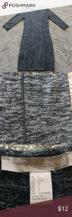 F21 Contemporary midi dress Soft and stretchy. Simple.  Length: 39 inches Colors: black, white, gray. Static look. Forever 21 Dresses Midi