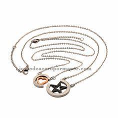 Collar de corazon y estrella para parejas de acero inoxidable -SSNEG541457