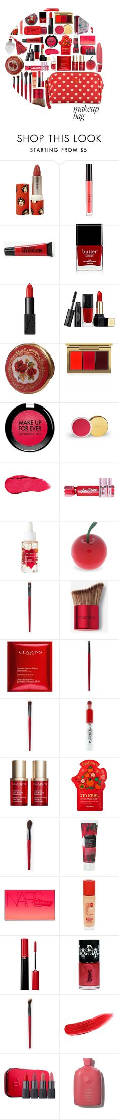 """makeup bag; red-red wine."" by roseshaze ❤ liked on Polyvore featuring beauty, Paul & Joe, Stila, Torrid, Butter London, NARS Cosmetics, Guerlain, MAC Cosmetics, MAKE UP FOR EVER and Lime Crime"