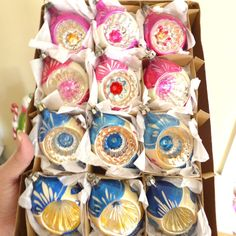 Box 12 Vtg Blue & Pink Glass POLAND Reflector Indent  Xmas Ornaments Painted