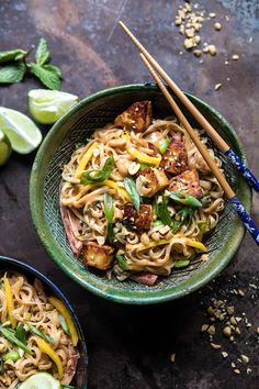 Better Than Takeout 20 Minute Peanut Noodles with Sesame Halloumi | halfbakedharvest.com