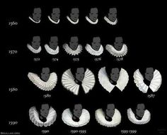 Nice overview of the development of the shape of the ruff between 1500-1600. Of course the ones with lots of lace did not become popular until the turn of the century!  This is mostly based on portraits of Elizabeth I. via Miren Arzalluz on twittter.