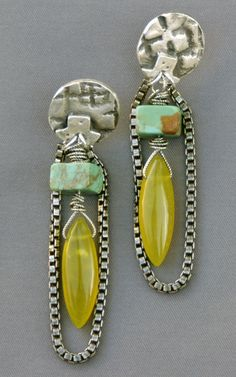 fine silver (PMC) posts with turquoise squares and chalcedony drops, oxidized sterling chain; Mirinda Kossoff